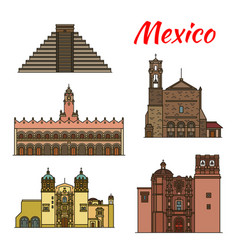 Travel landmark of mexico and north america icon vector
