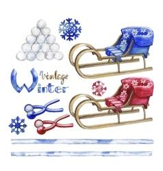 Watercolor winter activities vector
