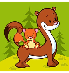 Weasel and squirrel in wood vector