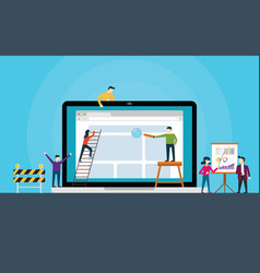 website development team on front of laptop build vector image