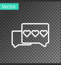 White line like and heart icon isolated on vector