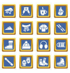 winter clothes icons set blue square vector image