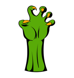 Witch green hand icon cartoon vector