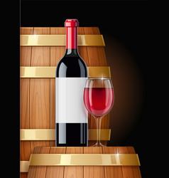 Wooden barrel with wine vector
