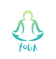 Yoga class logo element over white man in lotus vector