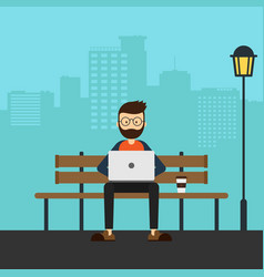 young freelancer working with laptop in a park vector image