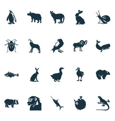 Zoo icons set with raven chimpanzee bug and vector