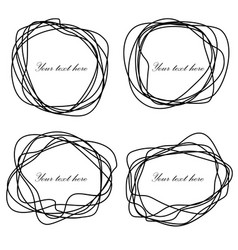 black hand drawn scribble in elliptical form vector image