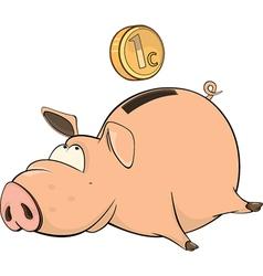 cute piggy bank cartoon vector image