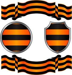 georgievsky ribbon and shields vector image vector image