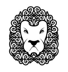 lion tattoo mane ornament leo tattooing wild vector image