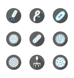 Microbiology round flat icons set vector image vector image