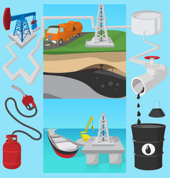 Oil industry transit concept cartoon style vector