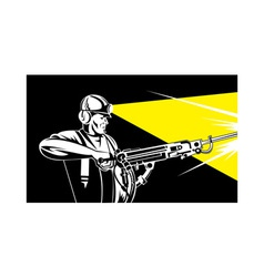 miner with jack leg drill vector image