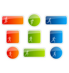 color stickers with runner symbol vector image vector image