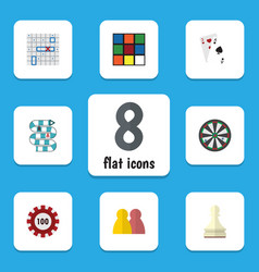flat icon games set of poker ace people and vector image