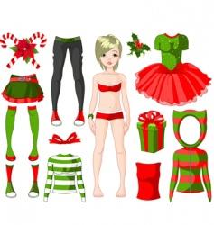 girl with Christmas dresses vector image