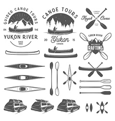 Set of kayak and canoe design elements vector image vector image