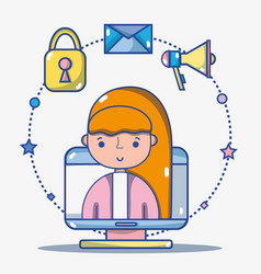 woman with social media technology to vector image