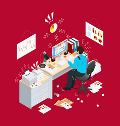 deadline office isometric composition vector image vector image