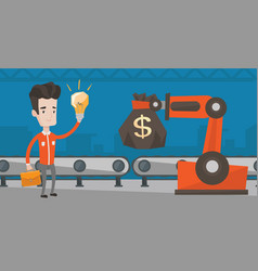 man selling idea of engineering of robotic hand vector image vector image