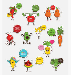 set of funny fruit and vegetable icons cartoon vector image