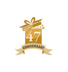 47 years gift box ribbon anniversary vector
