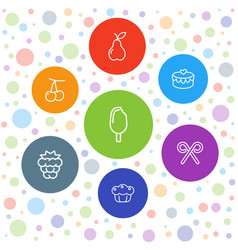 7 dessert icons vector image