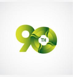 90 th anniversary celebrations green gradient vector