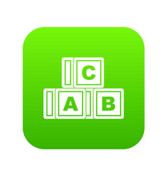 abc cubes icon digital green vector image