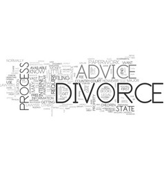 Advice on divorce text word cloud concept vector