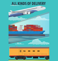 air cargo marine shipping rail freight transport vector image