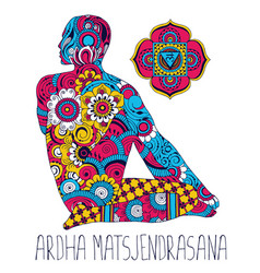 Ardha matsjendrasana pose in yoga vector