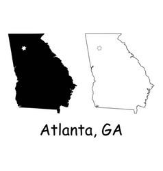 atlanta georgia ga state border usa map vector image