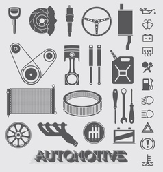 Automotive Parts and Icons vector image