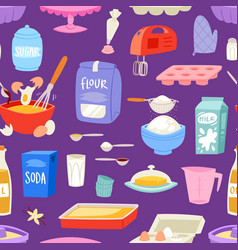 bakery ingredients food and kitchenware vector image