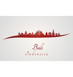 Bali skyline in red vector