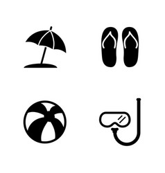 Beach accessories vacation simple related icons vector