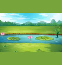 beautiful nature river landscape vector image
