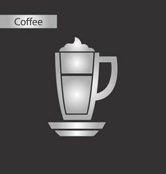 black and white style icon coffee cup latte vector image