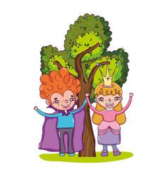Boy vampire and girl queen with tree vector