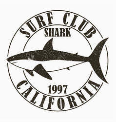 california shark - surfing typography vector image