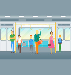 cartoon people in subway train card poster vector image