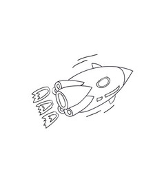 cartoon rocket flies lines vector image