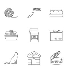 Cat equipment icons set outline style vector