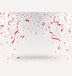 celebration background with red confetti vector image