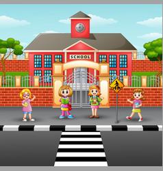 Children crossing the stree vector