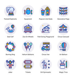 Circus elements filled circle icons - stroked vector