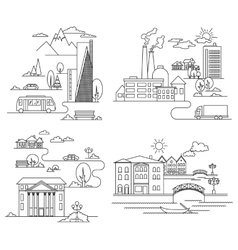 City in linear style - vector