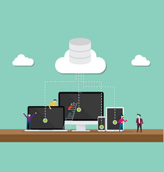 cloud computing technology team develop or vector image